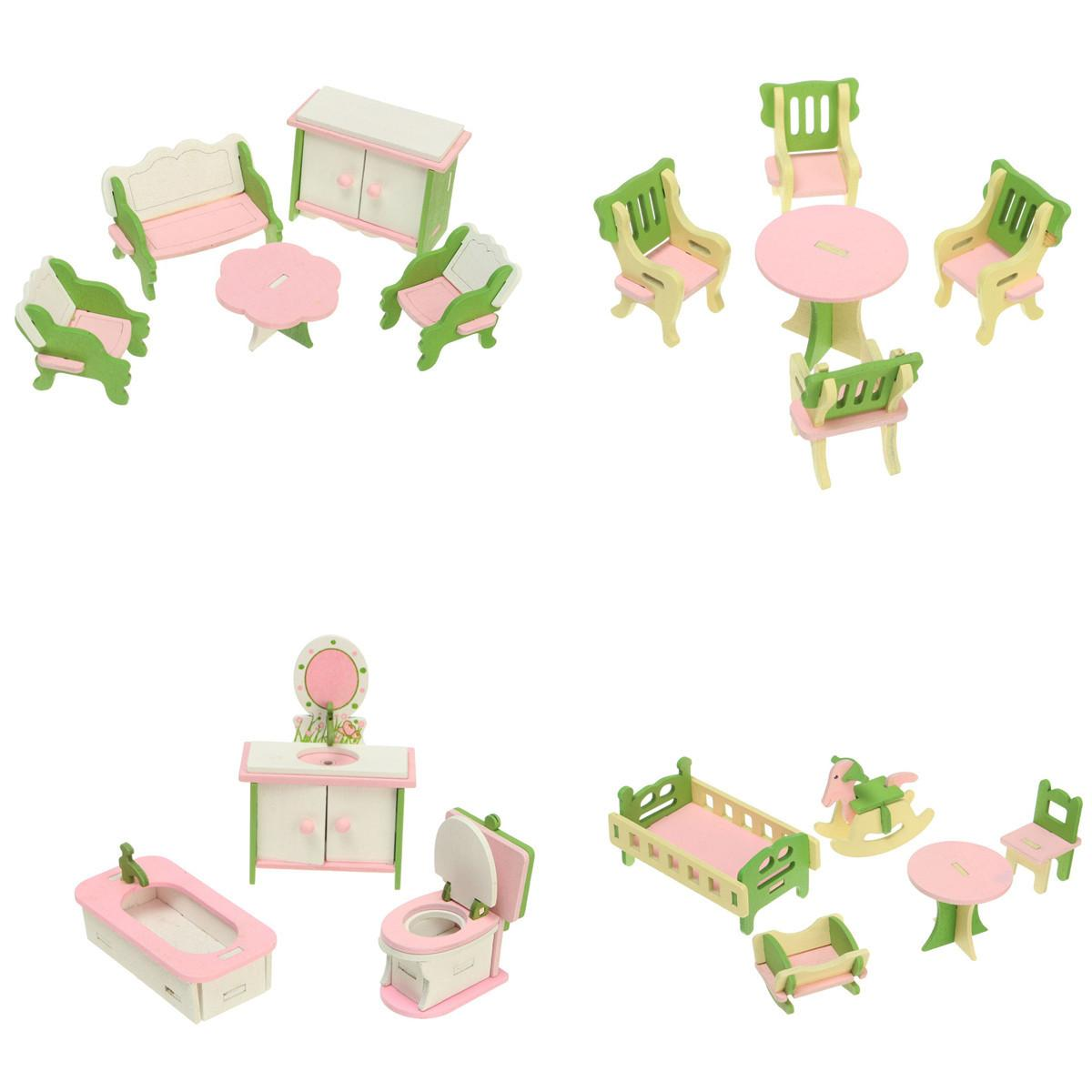 Wooden Delicate Dollhouse Furniture Toys Miniature Three Dimensional