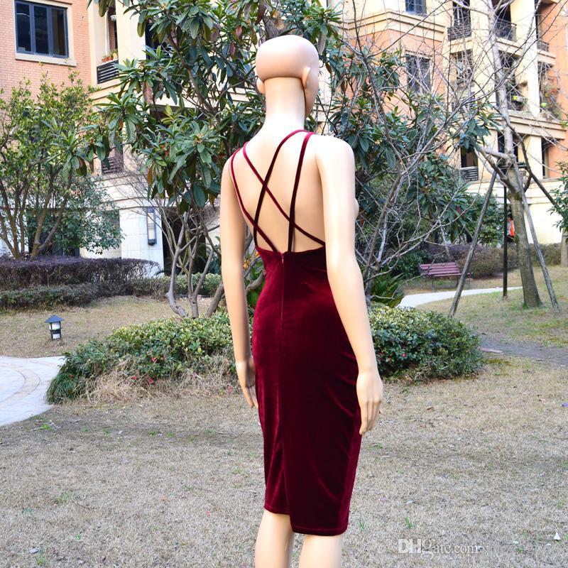 back double lined velvet cross dress 2016 fashion winered summer style sexy dress women sleeveless female dresses Spaghetti straps