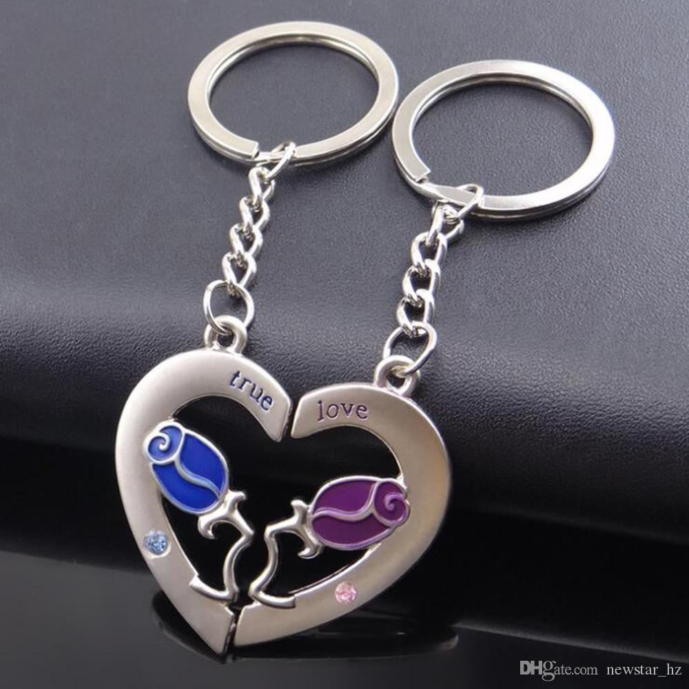 Metal Couples Heart Shaped Keychains Footprint Rose Flower Love Keychain Key Ring Zinc Alloy Keyfob Key Chain Valentine's Day Gift for Lover