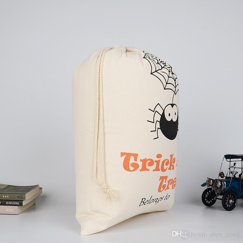 2017 neueste Halloween Große taschen baumwolle Kordelzug Mit Kürbis teufel spinne Hallowmas Geschenke Sack Taschen 9 Arten Freies DHL