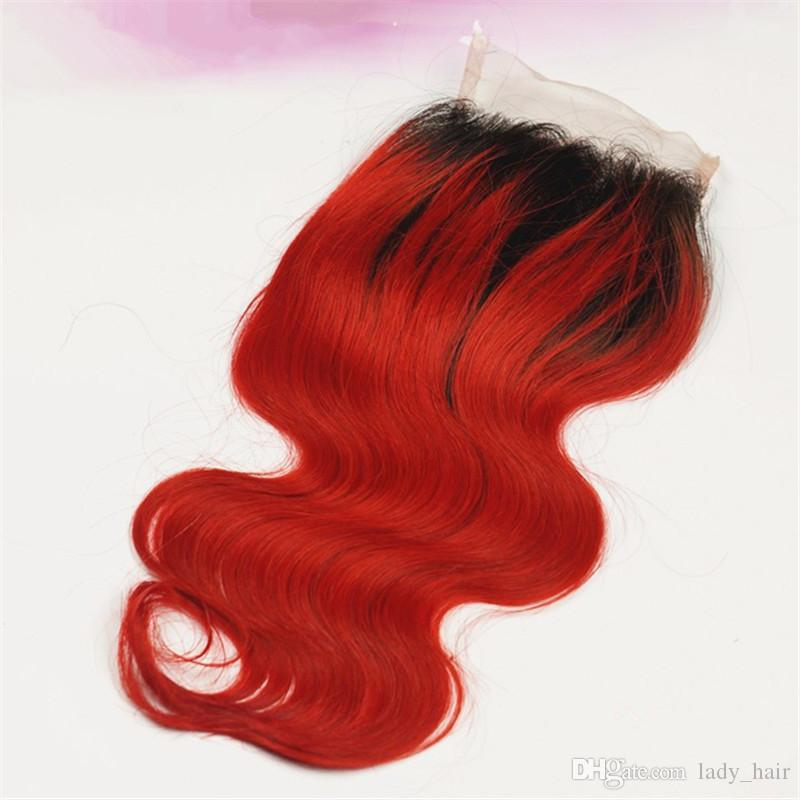 Reines Malaysisches Ombre Haar Mit Verschluss 3 Bundles # 1B / Rot Zweifarbiges Haar Spinnt Mit Verschluss 4 Teilelos Malaysisches Körperwellenhaar Mit Verschluss