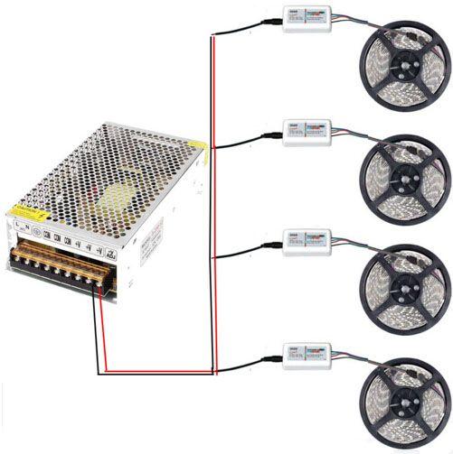 20m Mi Licht WIFI 4zone LED-Streifen-Licht DC 12V SMD 5050 3528 RGB Reel-Licht-5m / roll 60leds / m + RF Touch-Fernbedienung + 20A Stromversorgung