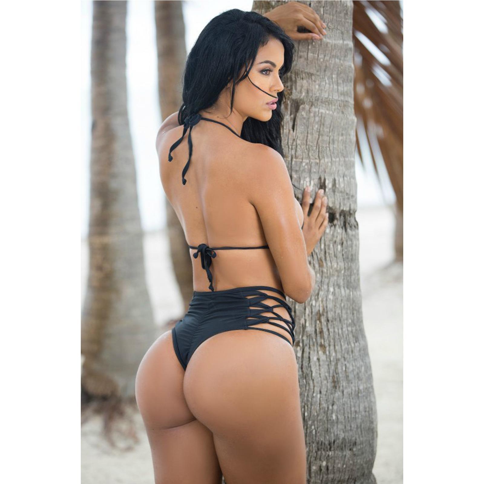 2016 Seksi Ucuz Strappy Bandaj Yüksek Belli Bikini Alt Hollow-out Siyah Halter Dize Mayo kadın Mayo Mayo