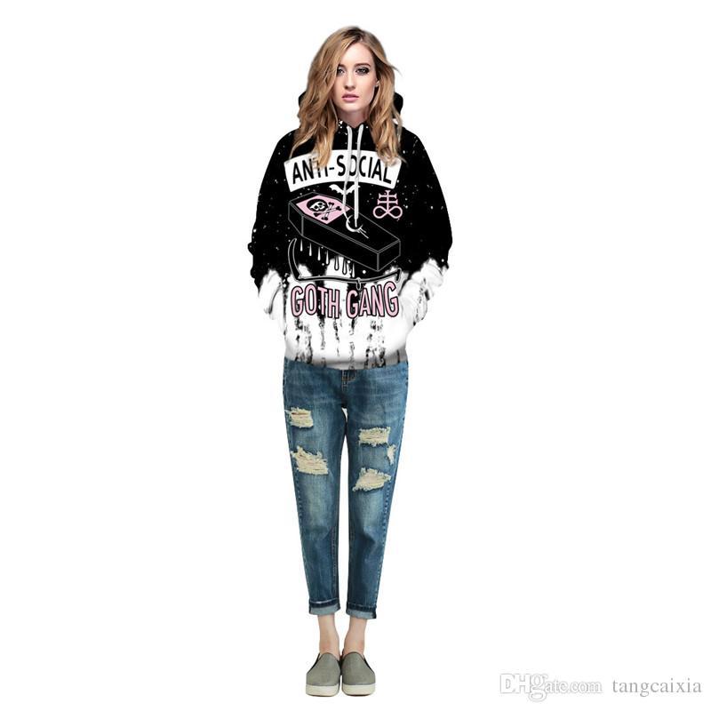 Frete grátis por atacado Halloween Roupas Para Homens / Mulheres Camisola Com Chapéu 3D Engraçado Hoodies Camisolas Outono Inverno Com Capuz Tops