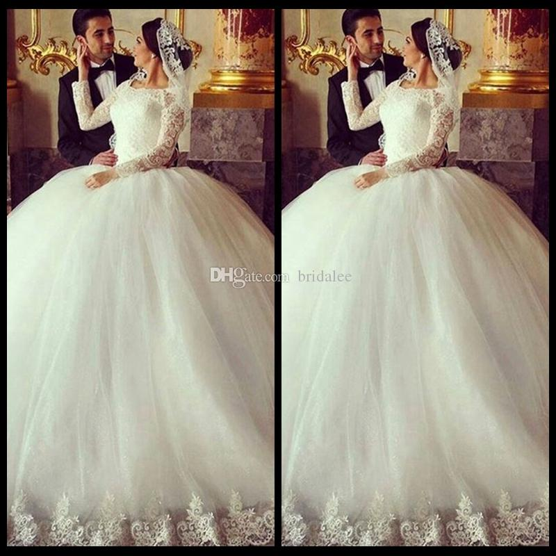 Gorgeous Sheer Ball Gown Wedding Dresses 2017 Puffy Beaded: Gorgeous Sheer Ball Gown Wedding Dresses 2016 Puffy Lace