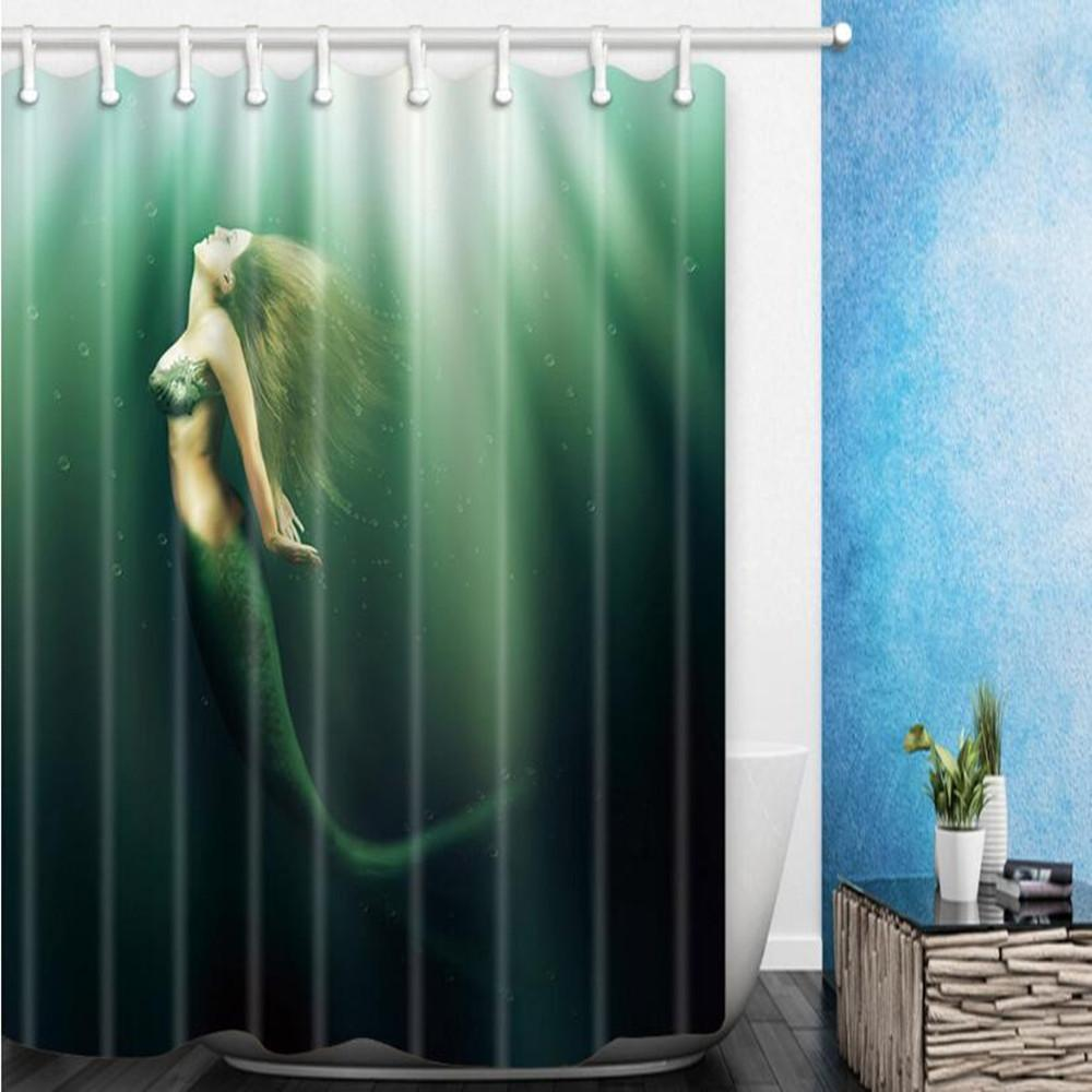 2018 180180cm Quality Mermaid Shower Curtains Home Decoration Bathroom Supplies Waterproof Polyester Room Hanging Cheap From Party8