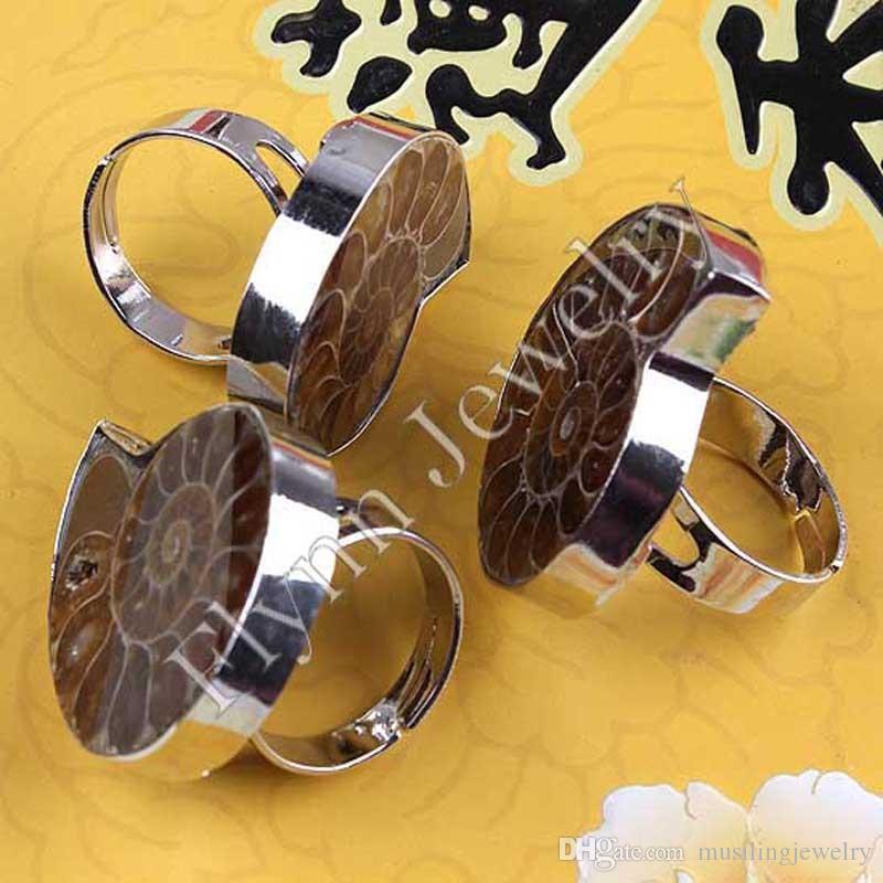Винт кольца природный винт ископаемые посеребренные натуральный камень регулируемый кольцо аксессуары ювелирные изделия рейки Амулет