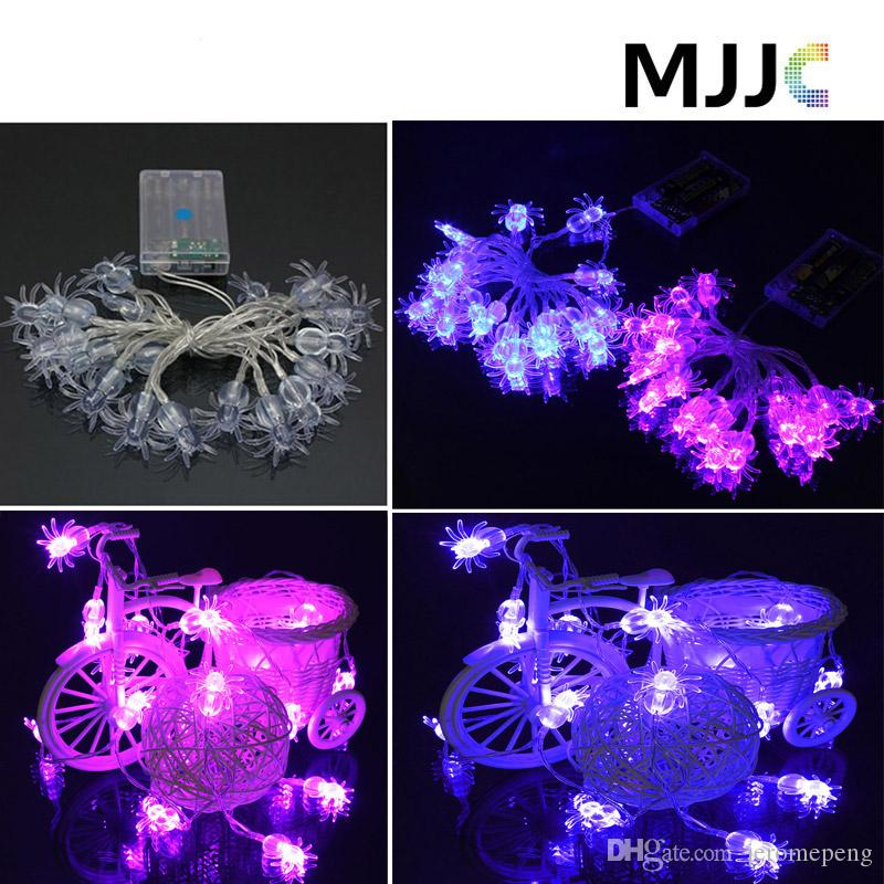 battery operated spider shape string fairy lights xmas 2m 20leds purple blue light waterproof for halloween indooroutdoor decoration fairy string lights