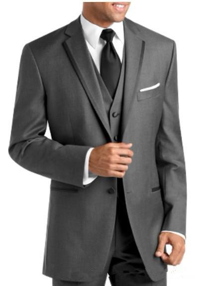 Custom Made New 2 Buttons Notch Lapel Groom Tuxedos Wool Blend Best Man Wedding Suits/Dinner Suits Jacket+Pants