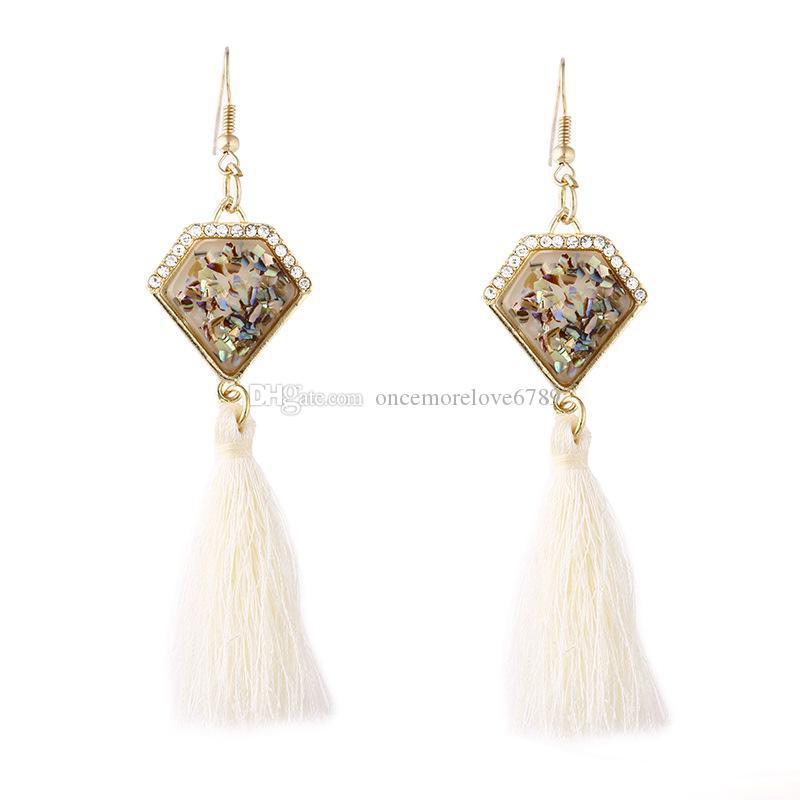 Мода роскошные позолоченные Кристалл имитировать shell серьги кисточкой кулон мотаться серьги Boho шикарные ювелирные изделия женщин