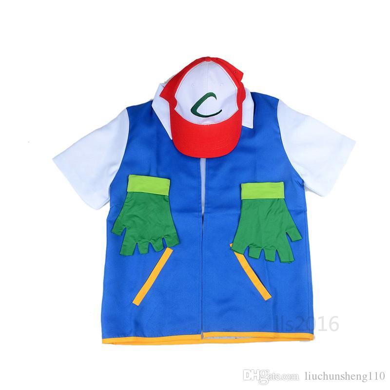 Hot! Anime Ash Ketchum Trainer Costume Halloween Cosplay Unisen Shirt Jacket + Guanti + Cappello originale blu genuino