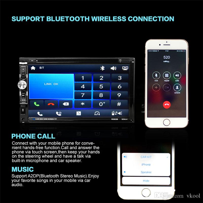 New 6.95 inch 2-DIN Car DVD In Dash FM Radio Receiver HD Touch Screen Bluetooth Audio Player with Wireless Remote Control