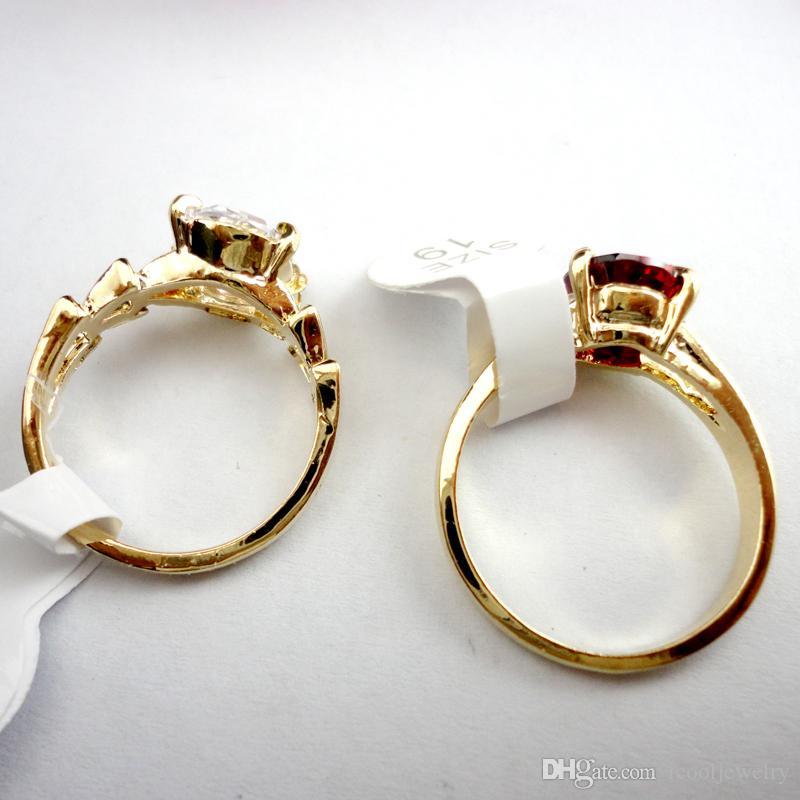 Moda Renkli Zirkon Altın Kadınlar için Nişan Yüzüğü Moda Tüm Takı Yığınlar Mix Sürü LR439 Paketleri