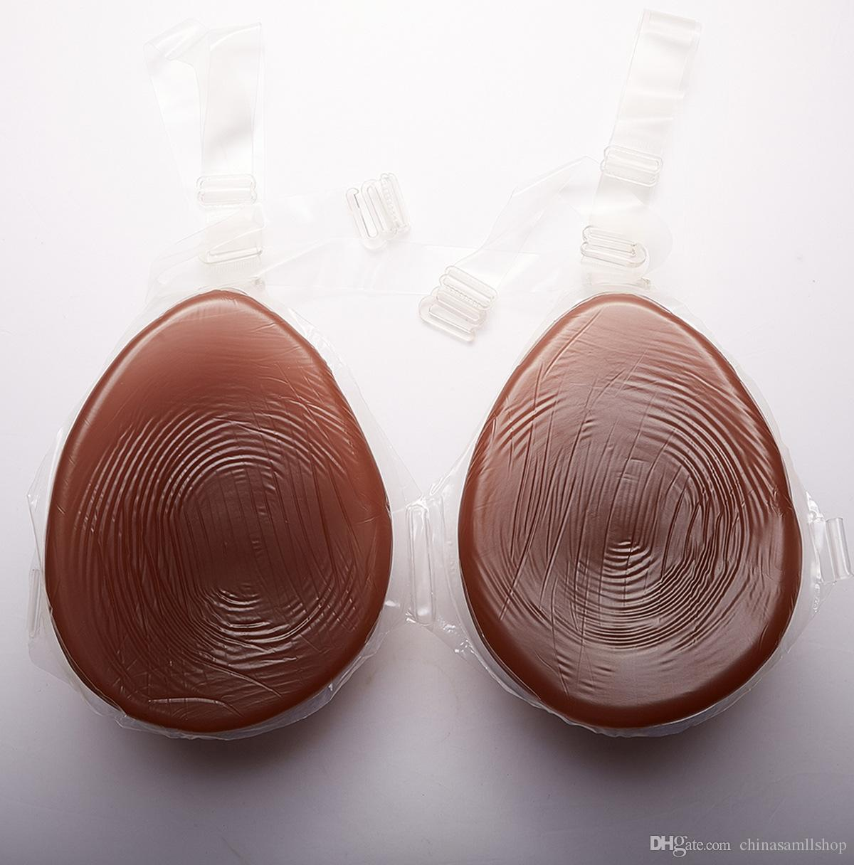 Café artificial Silicona Pechos realistas Formas con correa Oscuro Fake tetas Tits faux seins pechos silicona vagina para crossdresser