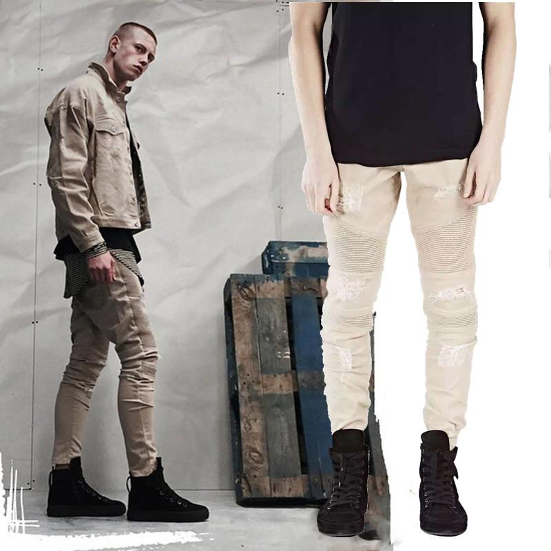 2017 jeans for men khaki biker jogger pants destroy jeans