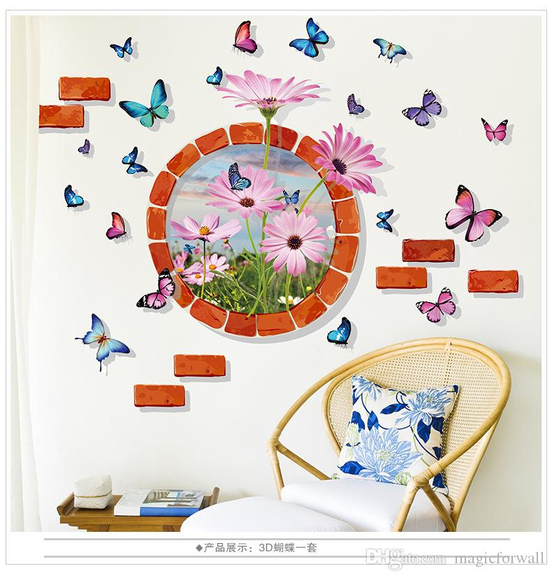 Stereo Brick Round Circle Flowers Butterfly Wall Stickers Home Decor Wall Art Mural Poster Hallway Wall Decorative Applique Wall Graphic