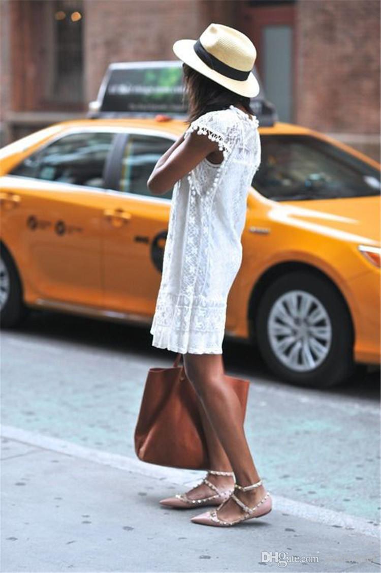 Moda Yaz Rahat kadın Gelinlik Dantel Topları ile Kısa Etek Kolsuz Gevşek kadın Giyim Beyaz Siyah Artı Boyutu
