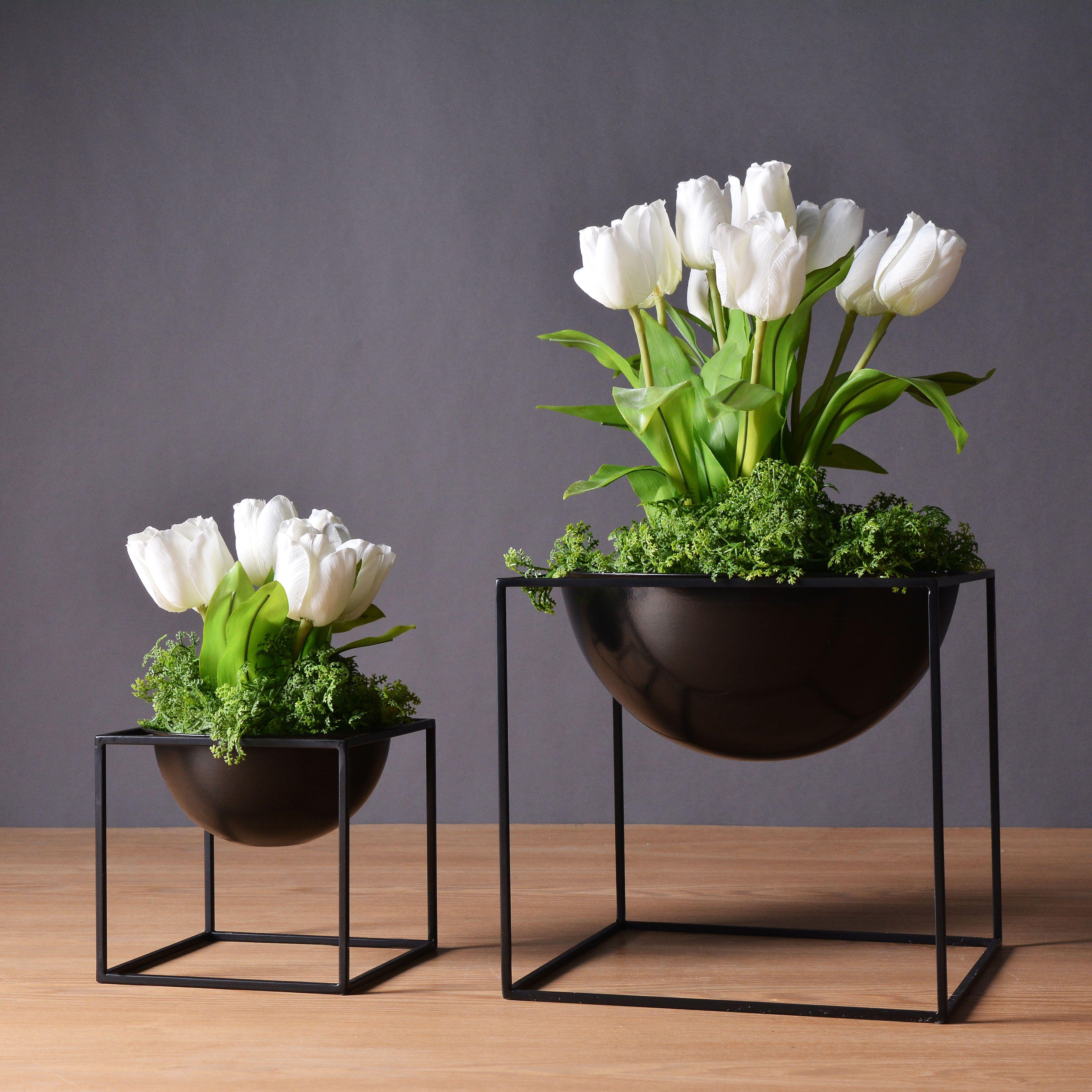 2018 2 Sizes Black Fashion Modern Tabletop Waterproof Metal Flower ...