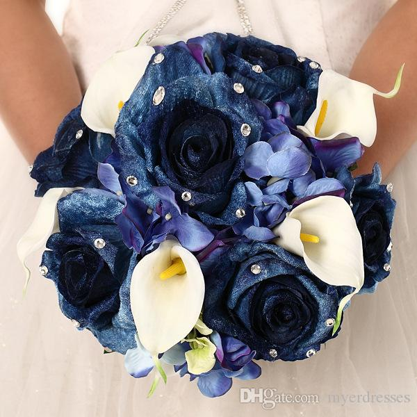 Real Touch Artificial Bridal Wedding Bouquet Navy Blue 2016 New ...