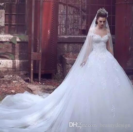 India Saudi Off Shoulder Brautkleider Mit Spitze Appliziertem Tüll Eine Linie Gericht Zug Lange Hochzeit Brautkleider