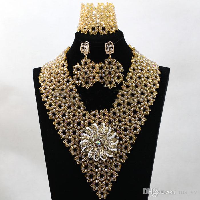 d64fcb06d1f1 Compre Nuevo 2019 Perlas Africanas De Oro Collares De La Boda De Nigeria  Joyería De Las Mujeres Para El Collar Conjunto Moda 18 K Chapado En Oro  Pendientes ...