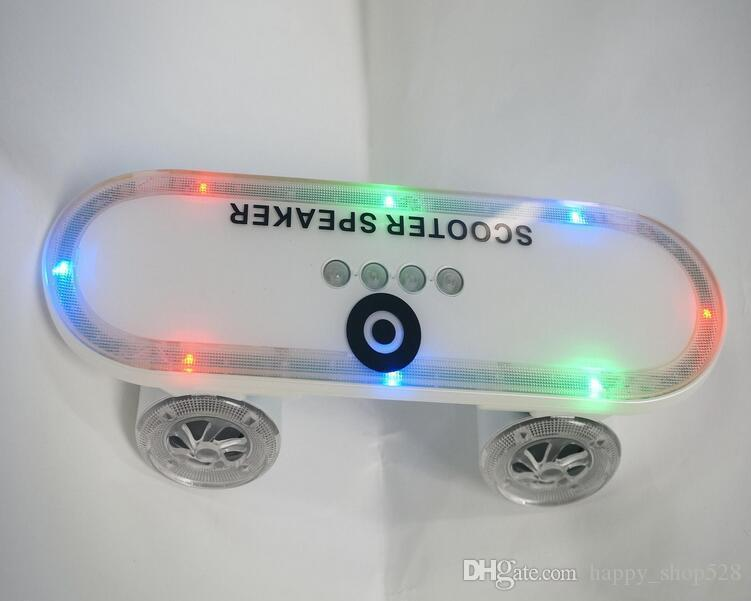 Newest gift Skateboard Wireless Bluetooth Wireless scooter Speaker Mobile Audio Mini Portable Speakers with Led Light