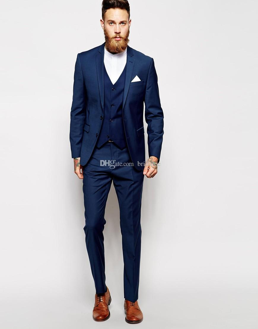 Custom Made Navy Blue Men Suit Tailor Made Suit Men Wedding Suit ...