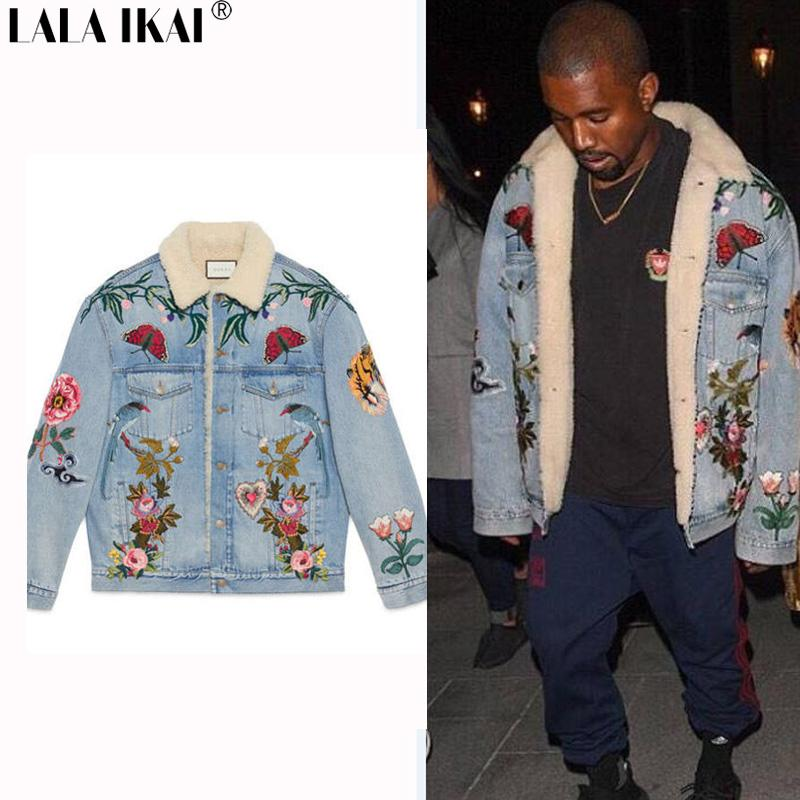 Embroidery Denim Thick Jackets Men Women Kanye West Gc Lambs Wool ...