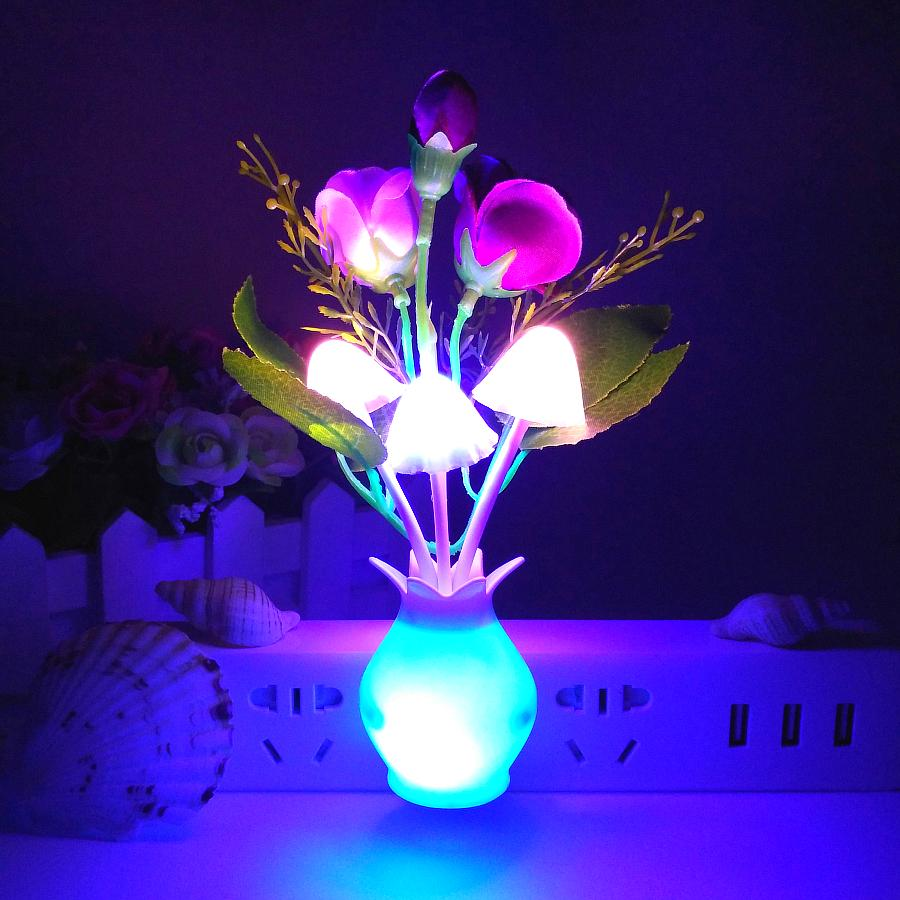 2018 Light Control Induction Night Light Color Roses Mushroom ...