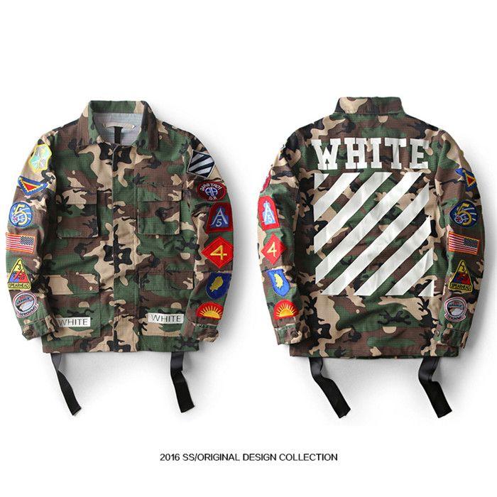 da1e4688a342 New OFF WHITE 13 Camouflage Jacket Men Hip Hop Street Windbreaker Military  Bomber Coat Striped Print Jackets Men Women Coat S XXL Size Canada 2019  From ...