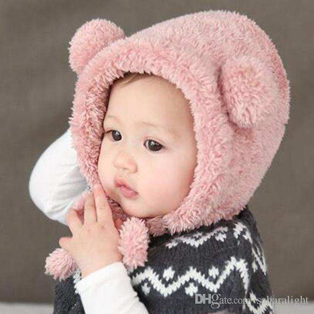 2cce40951 Baby Hats Warm Winter Ear Protection Hat Caps Newborn Baby Lovely Bear  Plush Beanie Hats Kids Toddler Headwear Accessories