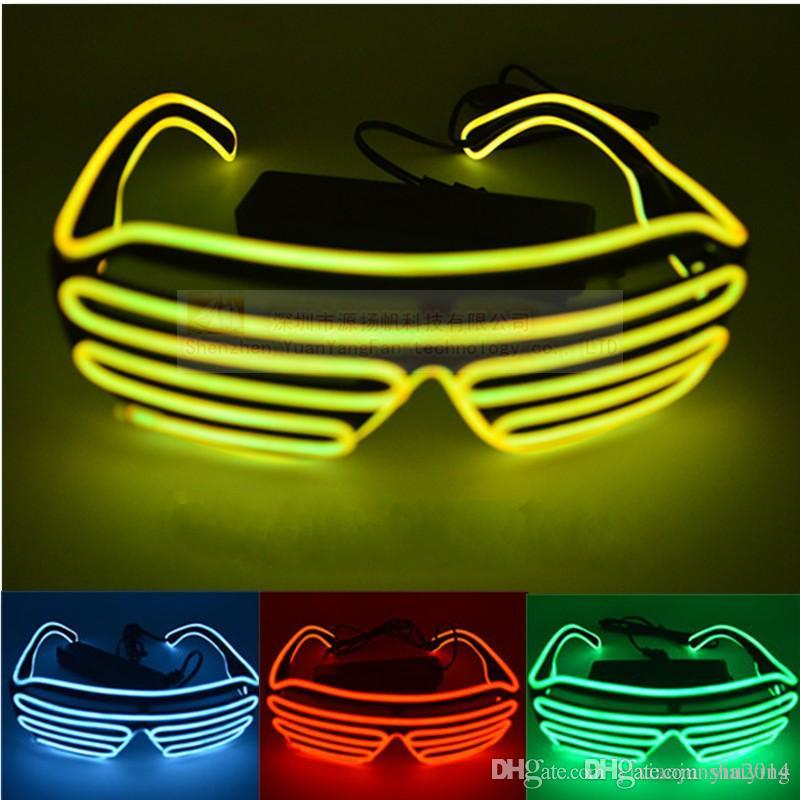 0b8d1b6606 Simple El Glasses El Wire Fashion Neon LED Light Up Shutter Shaped Glow Sun Glasses  Rave Costume Party DJ Bright SunGlasses Online with  8.58 Piece on ...