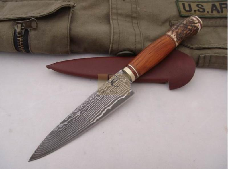 Hand made Classic DAMASCUS Fixd DAMASCUS Blade Knife Copper+antlers handle High quality with leather sheath