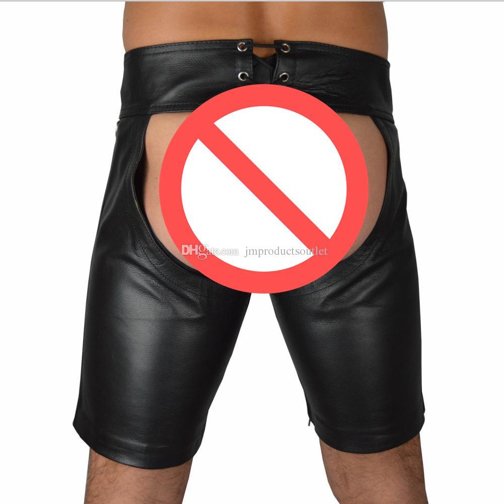 M-3XL Men's leather uniform leather bondage open crotch pants male slave training bdsm restraints clothing LN926