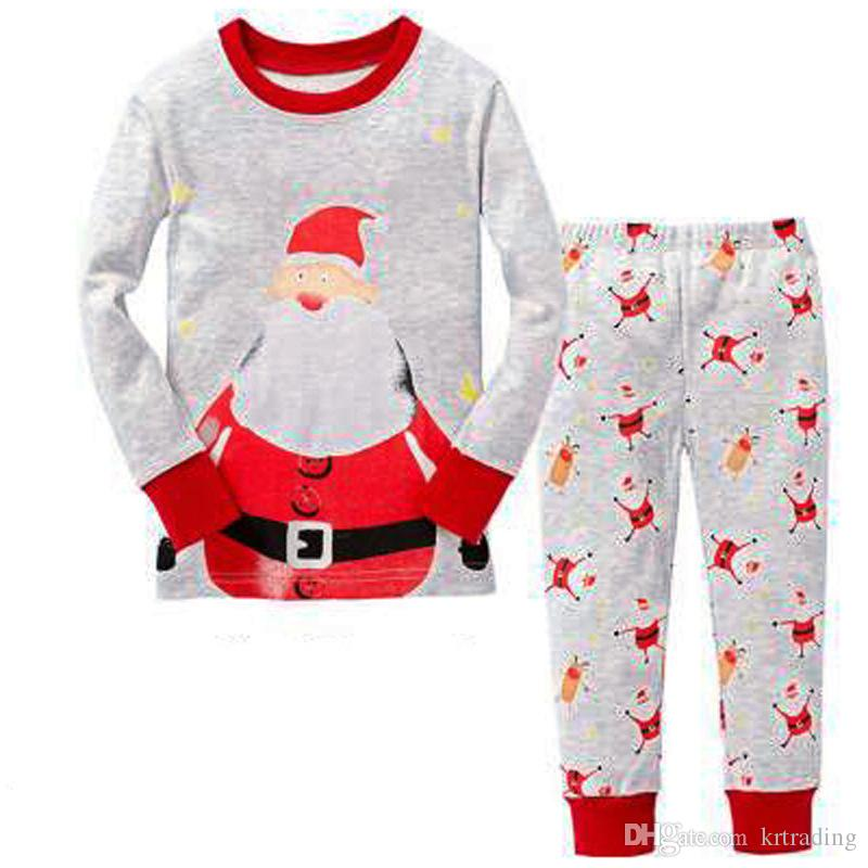 32624dfa5ae5 Kids Xmas Printing Homewear Sets Long Sleeve Santa Print T Shirt+ELK ...