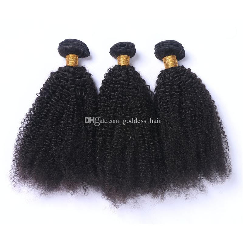 El pelo rizado afro brasileño rizado teje con el cierre del cordón la armadura brasileña del pelo humano / con las extensiones del pelo del cierre con el cierre