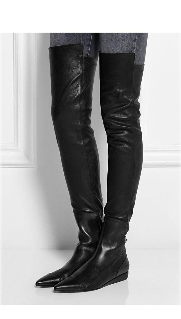 runway u068 black genuine leather roland stretch pointy