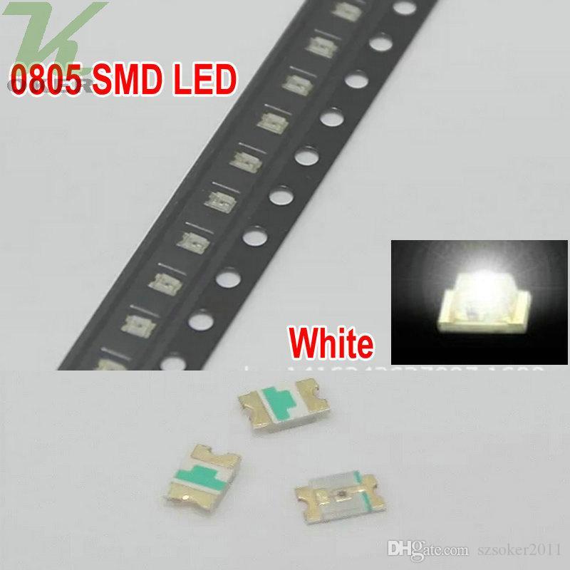 / reel SMD 0805 2012 화이트 LED 램프 다이오드 울트라 브라이트 SMD2012 0805 SMD LED 무료 배송