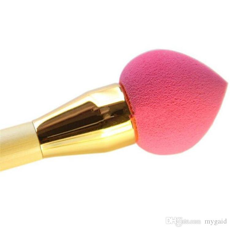 High Quality Universal Two Heads Makeup Brushes Blusher Brushes plus Sponge Brushes Puff Wood Handle Gold Tube Free DHL