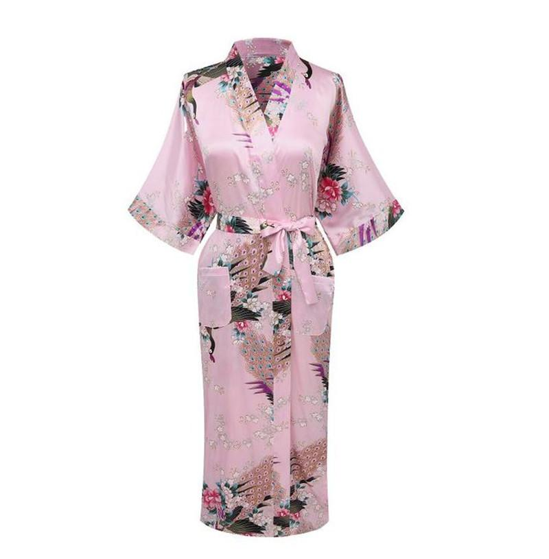 9f69155726 Wholesale- Hot Sale Pink Chinese Female Satin Robe Printed Floral ...