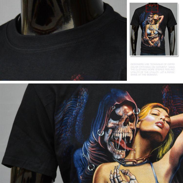 2016 neue Mann Flut Herrenbekleidung Trend Stil 3 D Kurzarm T Männer Schade Schönheit Teufel Menschlichen Skeleton Kopf Druckmuster Led Shirt T-shirts