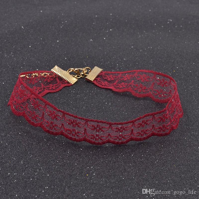 2019 heiße Art und Weise Frauen-Mädchen-Spitze-Blumen-Druck-Halskettenhalsketten-handgemachte Kragen Crochet Weiblich eleganten Vintage-Schmuck