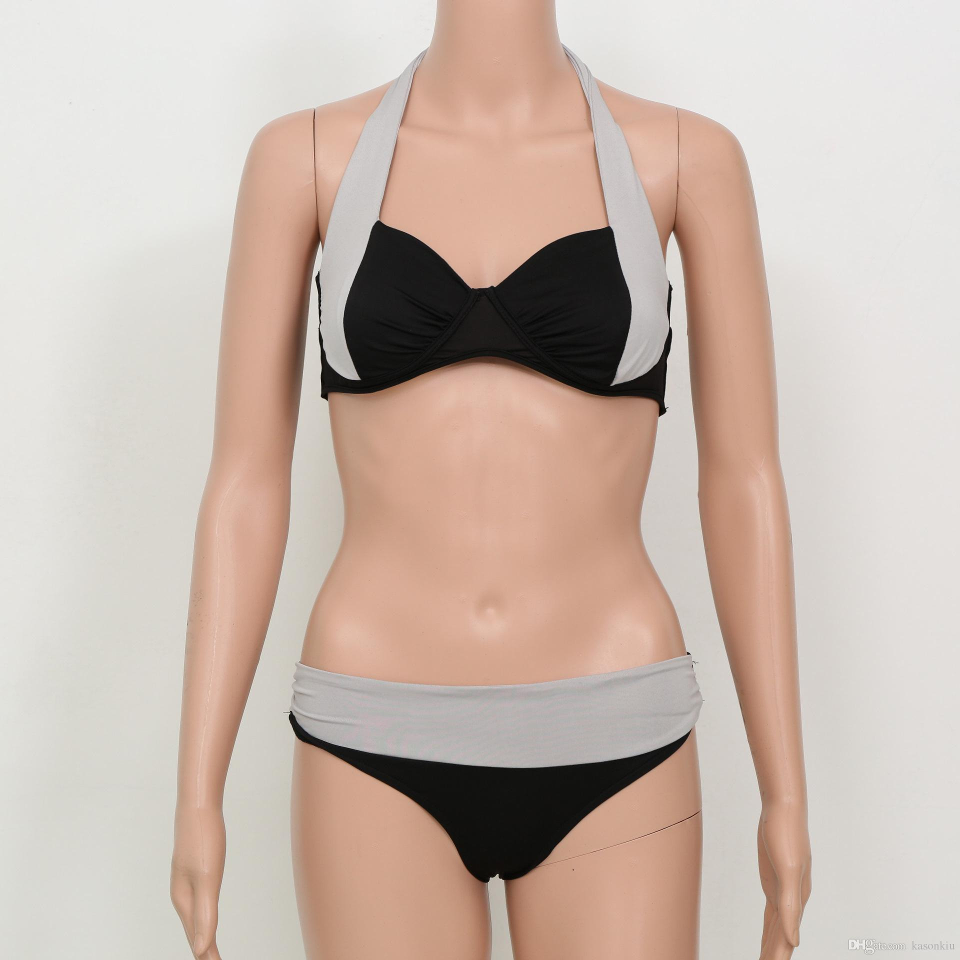 2016 New Sexy Bikinis Women Swimsuit High Waisted Bathing Suits Swim Halter Top Push Up Bikini Set Beach Plus Size Swimwear XXXL