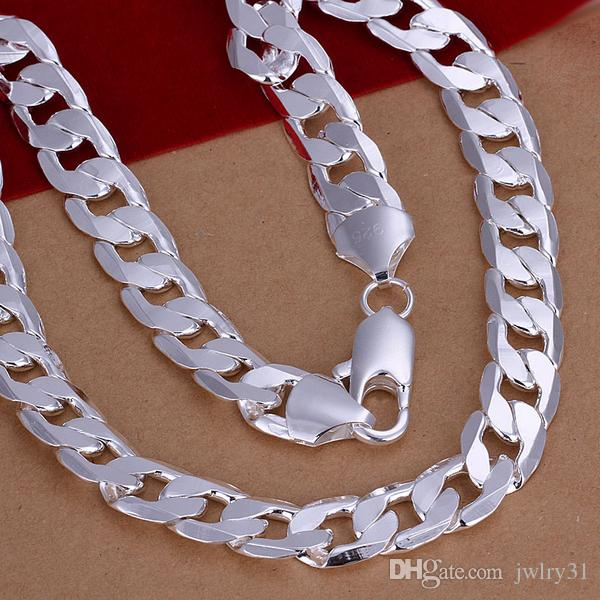 Fashion Man Accessories Jewellery Curb Chains 12MM Flat Sideways Link Chain Necklace 925 Sterling Silver Necklaces Perfect Gift 16~24inch