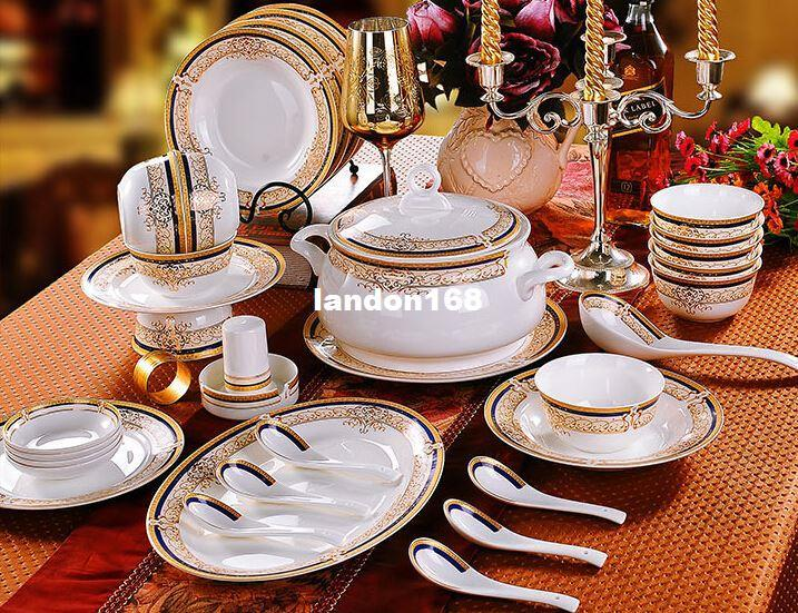 Quality Gold Rim Ceramic Dinnerware Set China Crockery Dishes Set Festive Gift Italian Dinnerware Sets On Sale Japanese Dinnerware Sets From Landon168 ... : italian dinnerware set - Pezcame.Com