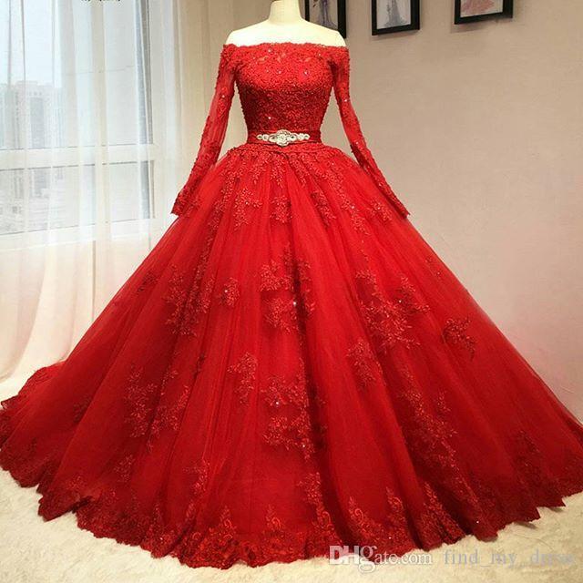الفاخرة تصميم كم طويل الأحمر فساتين الزفاف قبالة الكتف مطرز الحزام الرباط الكرة بثوب الزفاف أثواب الرباط حتى العودة مخصص الحجم