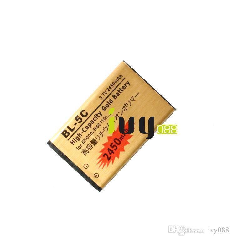 2450mAh бл-5C BL5C бл 5c золото замена батареи + Универсальный USB зарядное устройство для Nokia 3650 1100 6230 6263 6555 1600 6630 6680 6550 6230i