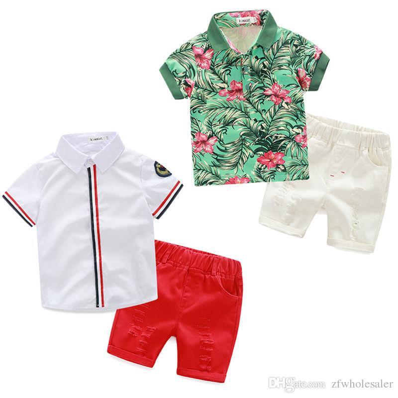 Baby Boutique de ropa del caballero de Niños Ropa para Niños Set Boys camisa fresca + shorts 2 Estilo de verano para niños pequeños traje chándal Boys Jersey nueva llegada