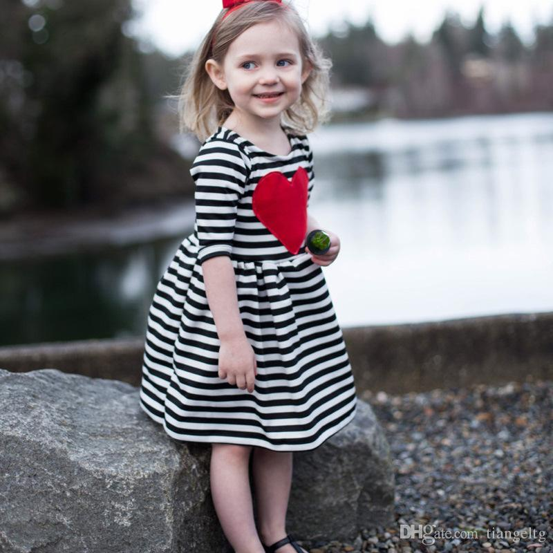 f19026ec575 2019 2017 Ins Girls Striped Dresses Spring Fall Black White Striped With Red  Heart Appliqued Half Sleeve Bud A Line Outfit 2 6T Princess Casual From ...