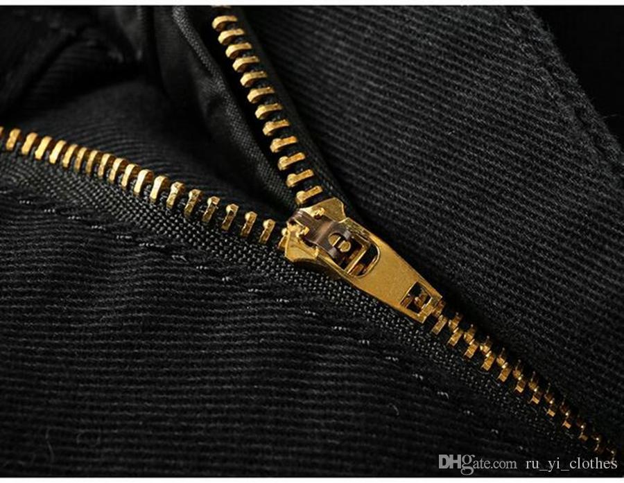 Tendencia de moda de la marca masculina en la nueva edición de han, cultivar la personalidad de la moralidad a través de pantalones de mezclilla de algodón estampados 6789 / 28-36